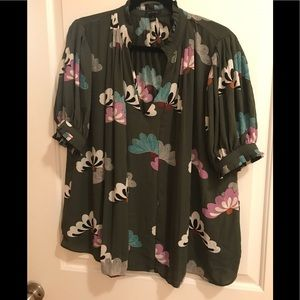 Ann Taylor Floral Puff Pleated Popover